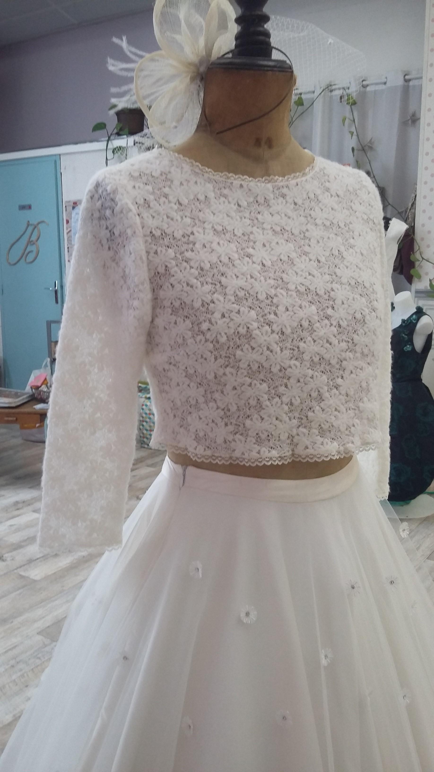 Robe de mariée à domicile - ELSA - robe de mariée avec pull et jupe tulle - Cholet - Boutique de mariage 49 -, robe de mariée pas cher, créatrice 49, robe de mariée princesse