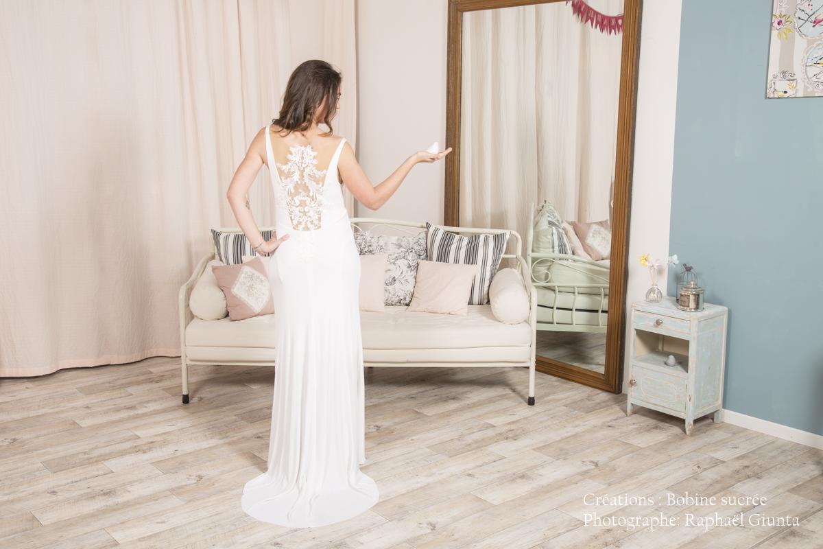 Robe de mariée à domicile -JASMINE - Robe de mariée décolleté bénitier - Cholet - Boutique de mariage 49 - vente à domicile 49, location robe de mariée 49, robe de mariée pas cher, Créatrice 49